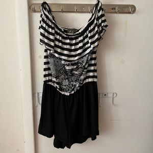Shoulder less One piece dress with attached pants